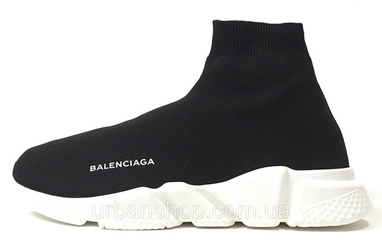 Кроссовки мужские Balenciaga Knit High-Top Sneakers Black/White баленсиага мужские