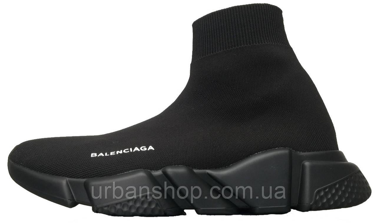 Кроссовки мужские Balenciaga Knit High-Top Sneakers Black/Black баленсиага мужские