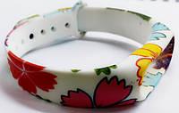 Ремешок Xiaomi для браслета Xiaomi Mi Band 2, белый с цветами