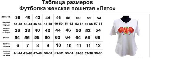 Размерная сетка  футболки
