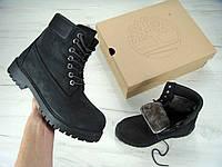 Зимние ботинки Timberland Black, мужские/женские ботинки с натуральным мехом