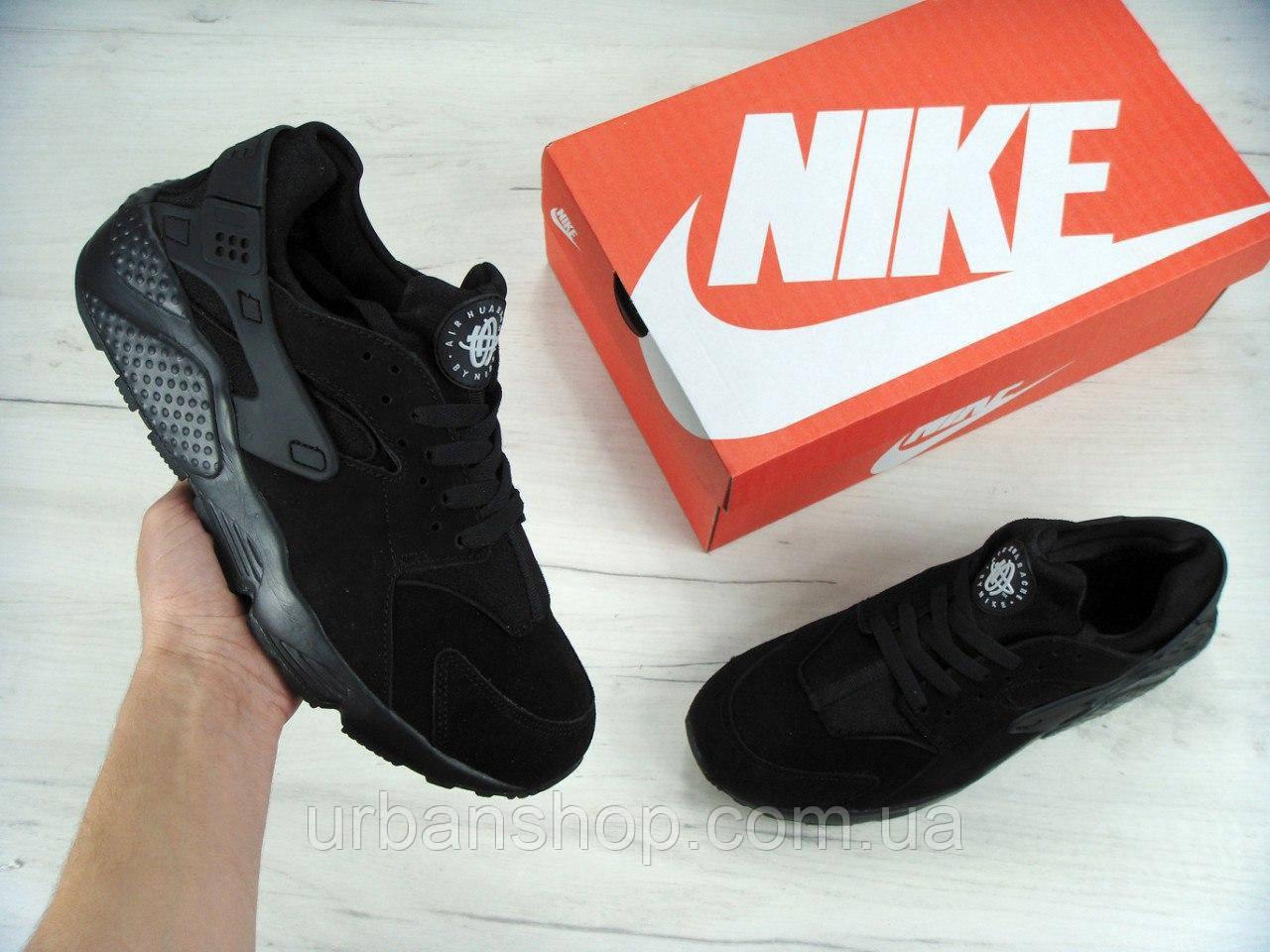 Зимние мужские кроссовки Nike Air Huarache All Black Winter Edition, найк, айр хуараче