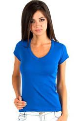 Синяя футболка женская летняя с коротким рукавом однотонная с вырезом хлопок трикотажная Украина