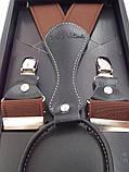 Чоловічі коричневі підтяжки на подарунок Paolo Udini, фото 5