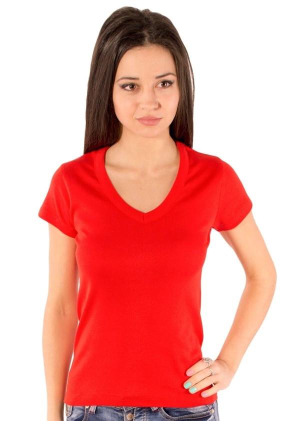 Червона футболка жіноча літня з коротким рукавом, однотонна з вирізом трикотажна бавовна Україна