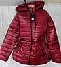 Куртка женская стеганая с капюшоном большой размер весна-осень 120 (цвет бордо) оптом