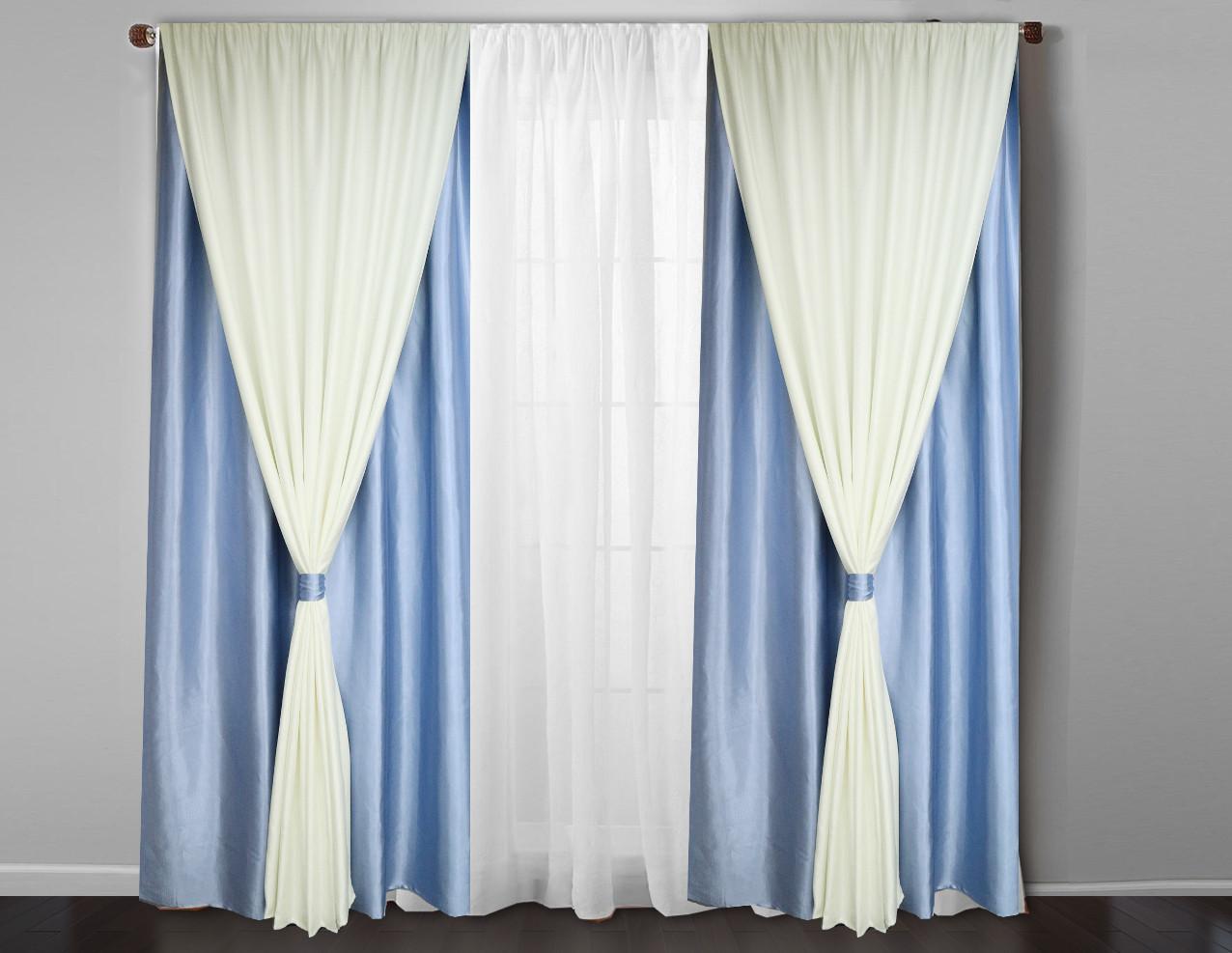 Готовые голубые  шторы  4 полотна