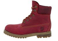 Зимние ботинки Timberland Red, женские ботинки с иск. мехом