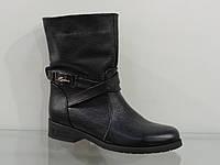Ботинки молодежные черные кожаные демисезонные без молнии, фото 1