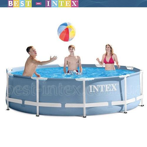 Intex 28700 Голубой (305-76 см.) Круглый каркасный бассейн Metal Frame Pool