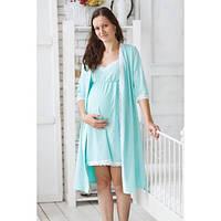 Набор халат и ночная рубашка Серый для беременных и кормящих в роддом