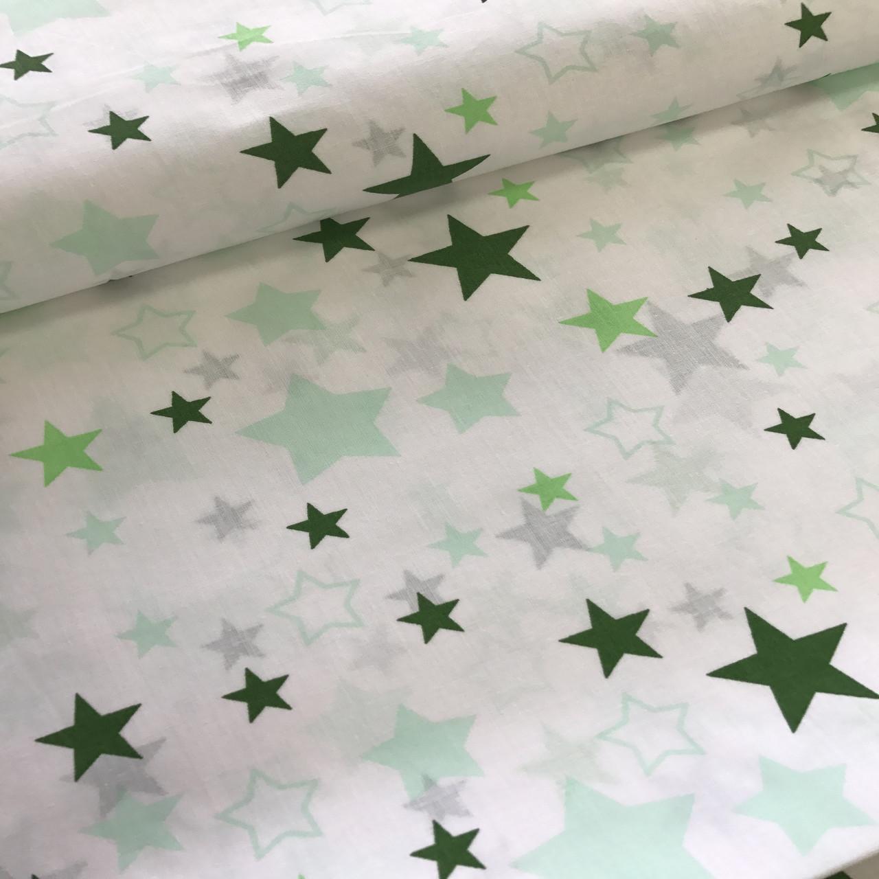 Хлопковая ткань польская звезды белые, зеленые, салатовые большие и маленькие на белом №107