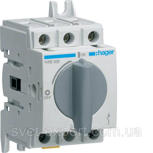 Вимикач навантаження модульний Hager HAB306 до 16мм2, 3п 63А
