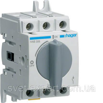 Вимикач навантаження модульний Hager HAB306 до 16мм2, 3п 63А, фото 2