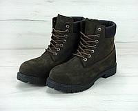 Зимние ботинки Timberland olive dark, мужские ботинки с искусственным мехом