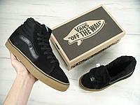Кеды Vans SK8 - Hi. Winter Edition Black Gum Black, зимние вансы с мехом, фото 1