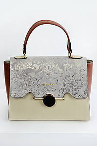 Женская сумка Bulgari с клапаном серая