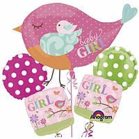 Для девочек на выписку из роддома букет фольгированных шаров гелиевых ПТИЧКА МОЯ