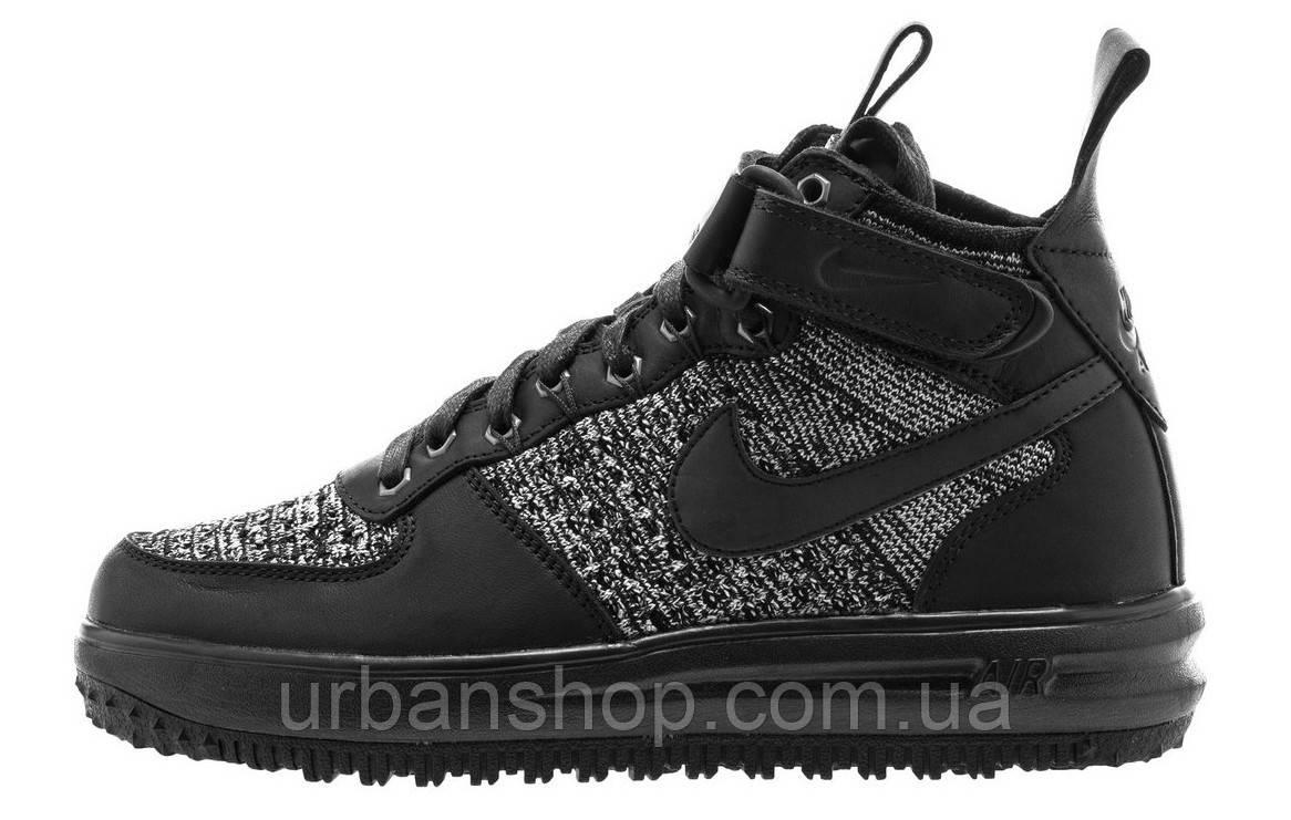 Кроссовки мужские Найк  Nike lunar force 1 flyknit workboot black white wolf black/black