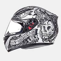 Мотошлем MT Revenge Skull & Rose Black, фото 1