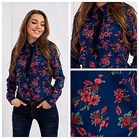 Блузка женская в цветочный принт Арика, синяя