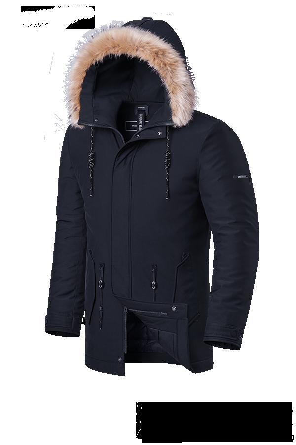 Мужская зимняя куртка с мехом Braggart Black Diamond  (р. 46-56) арт. 3781 H