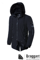 Мужская черная зимняя куртка Braggart Black Diamond  (р. 46-56) арт. 3250 B