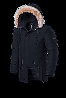 Мужская черная зимняя куртка с мехом Braggart Black Diamond (р. 46-56) арт. 3781 R