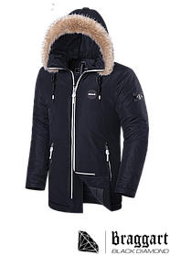 Элитная мужская зимняя куртка с мехом Braggart Black Diamond (р. 46-56) арт. 9008 N