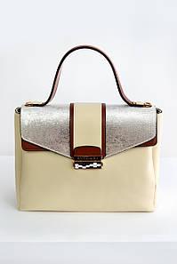 Женская сумка Bulgari mini с клапаном бежевая