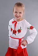 Блуза  Мак вышиванка для девочки с маками, фото 1