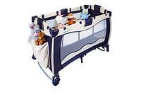 Детский манеж-кровать Wonderkids Dreem&Play синий/бежевый WK22-H86-001