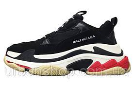 Кроссовки женские Balenciaga Triple S Black/White/Red баленсиага