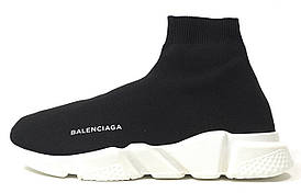 c88ae48d71018d 11281 Кроссовки женские Balenciaga Knit High-Top Sneakers Black/White  баленсиага