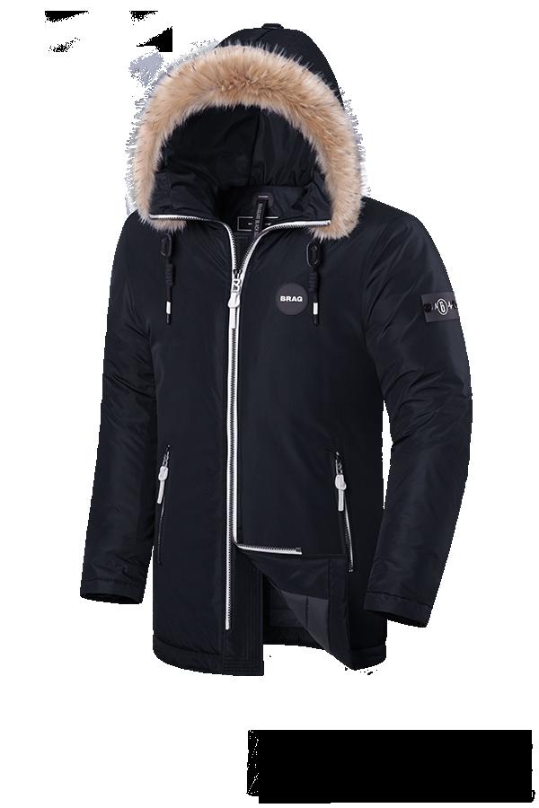 Элитная черная мужская зимняя куртка с мехом Braggart Black Diamond (р. 46-56) арт. 9008 Е