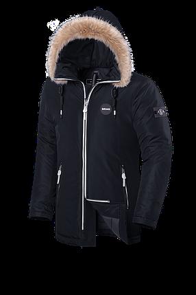 Элитная черная мужская зимняя куртка с мехом Braggart Black Diamond (р. 46-56) арт. 9008 Е, фото 2