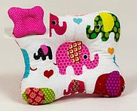 Ортопедическая подушка для младенцев бабочка BabySoon 144 Слоники на розовом 22 х 26 см розовая (144)