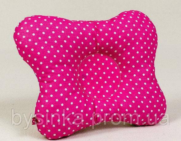 Подушка ортопедическая для младенцев бабочка BabySoon Розовая в мелкий горошек 22 х 26 см (148)