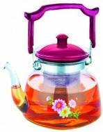 Заварник-чайник термостекло 900мл(огнеупор) Цветы микс