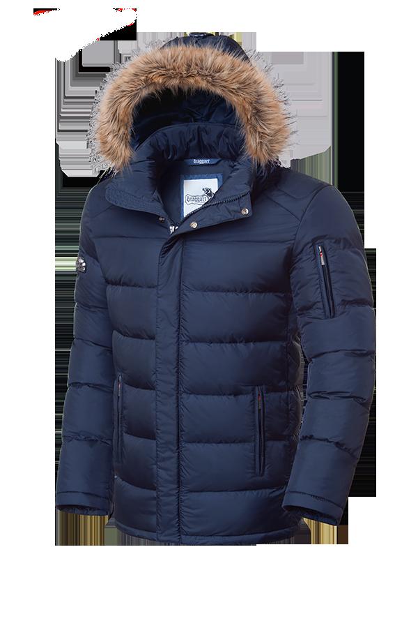 Мужская темно-синяя зимняя куртка с мехом Braggart (р. 46-56) арт. 4457