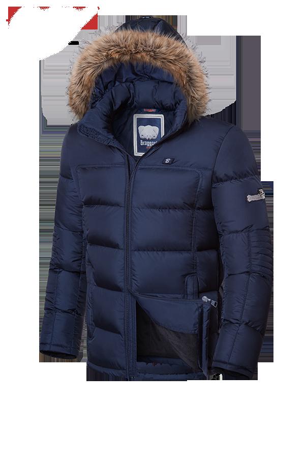 Мужская зимняя куртка-парка с мехом Braggart (р. 46-56) арт. 4233 темно-синий