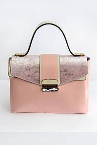Женская сумка Bulgari mini с клапаном пудровая
