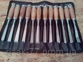 Набор резцов PROFI, ударные для резьбы по дереву. 12 шт. в чехле - сумка. Рукоятка бук усиленная кольцом