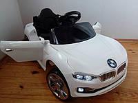 Детский электромобиль SX2929 BMW, с КОЖАНЫМ сиденьем, EVA Резина, дитячий електромобіль, белый