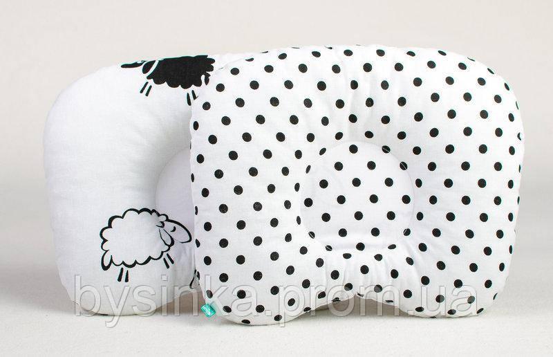 Подушка для новорожденных BabySoon Барашки и горошек 22 х 26 см (161)