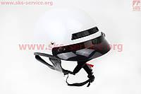 Белый шлем каска с козырьком VEGA Solid  размер М
