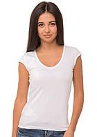 Белая футболка женская спортивная летняя без рисунка с коротким рукавом хлопок стрейч трикотажная (Украина)