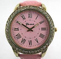 Часы наручные, Geneva, Цвет корпуса: золото, Розовый ремешок, Аналоговый дисплей, Механизм кварцевый