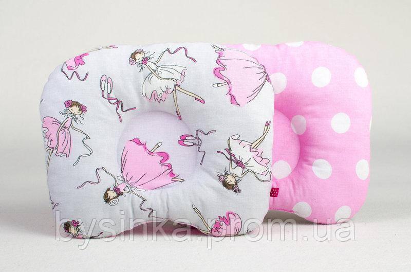 Ортопедическая детская подушка BabySoon Балеринки и горох на розовом 22 х 26 см (162)