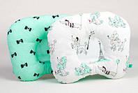Детская ортопедическая подушка BabySoon Пудельки и бантики на мяте 22 х 26 см (163)